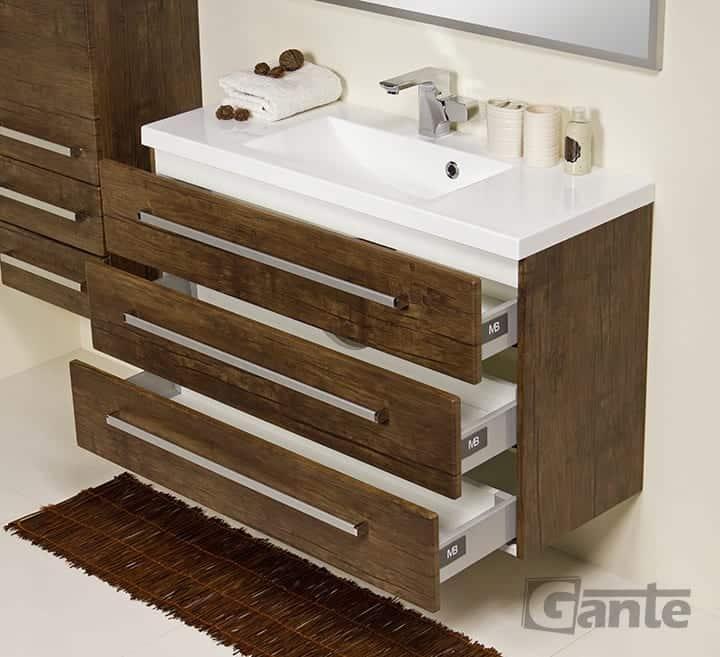 vanity unit 100cm antique wood three drawers