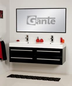 vanity unit 140 cm black double sink